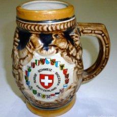 Coleccionismo de cervezas: BONITA JARRA DE CERVEZA DE SWITZWERLAND SUIZA CERAMICA PORCELANA COLECCION. Lote 73596171