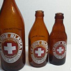 Coleccionismo de cervezas: LOTE 3 BOTELLA CERVEZA CRUZ BLANCA 20-33-66 CL. Lote 129049175