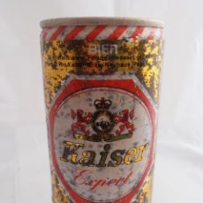 Coleccionismo de cervezas: LATA CERVEZA KAISER EXPORT BIER, LLENA, DOS TAPAS Y LATERAL SOLDADO AÑOS 70. Lote 82811040