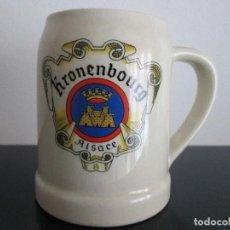 Coleccionismo de cervezas: JARRA DE CERVEZA SERAGRAFIADA ALEMANA KRONENBOURG ESCUDO ALSACE DE CERAMICA. Lote 83318444