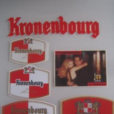 Coleccionismo de cervezas: INTERESANTE LOTE 6 ADHESIVOS PEGATINAS ORIGINALES DE CERVEZA KRONENBOURG. Lote 83575096