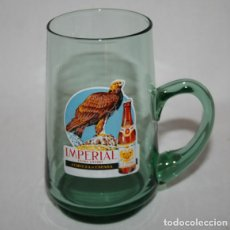 Coleccionismo de cervezas: ANTIGUA JARRA DE CRISTAL VERDE DE CERVEZA EL AGUILA IMPERIAL, MUY BUEN ESTADO, 1. Lote 84462992