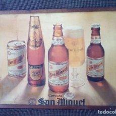 Coleccionismo de cervezas: CUADRO CERVEZA SAN MIGUEL,EN LAMINA DE AGLOMERADO.AÑOS 80.. Lote 84599900