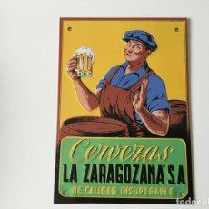 Coleccionismo de cervezas: CHAPA PLACA CARTEL METAL CERVEZA AMBAR LA ZARAGOZANA ZARAGOZA ... ZKR. Lote 143224048