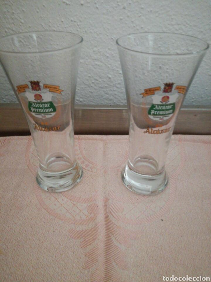 Coleccionismo de cervezas: Pareja de vasos Alcázar Calatrava - Foto 3 - 85185775