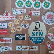 Coleccionismo de cervezas: LOTE PEGATINAS CERVEZA VARIAS MARCAS VOLL-DAMM SAN MIGUEL CRUZCAMPO. AGUILA. ESTRELLA DAMM ETC. Lote 86098864