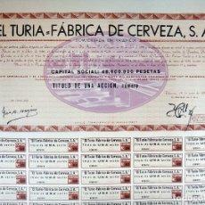 Coleccionismo de cervezas: ACCION CERVEZA CERVEZAS EL TURIA , 1959 , VALENCIA SIN RELLENAR , CON CUPONES ,GRANDE ,ORIGINAL ,ACC. Lote 100881071