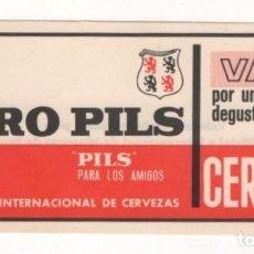 Coleccionismo de cervezas: (ALB-TC-7) VALE DEGUSTACION CERVEZA EURO PILS VALEDERO FERIA OFIC INTERNACIONAL MUESTRAS BARCELONA. Lote 95108100