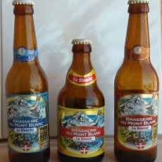 Coleccionismo de cervezas: LOTE 3 BOTELLAS DE CERVEZA MONT BLANC 33 CL, LA BLANCHE, LA BLONDE, LA ROUSSE. (BOTELLA VACÍA). Lote 95703315