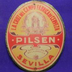 Coleccionismo de cervezas: CHAPA CARTEL PLACA DE LA ANTIGUA CERVEZA LA CRUZ DEL CAMPO.ESTILO PILSEN. CERVEZAS CRUZCAMPO.. Lote 96505967