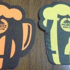 Coleccionismo de cervezas: LOTE DE 2 POSAVASOS MORITZ BEER LAB AMARILLO Y NARANJA. USADOS. TIENEN FORMA DE JARRA. . Lote 96677451