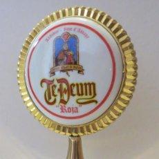Coleccionismo de cervezas: PUBLICIDAD CERVEZA BELGA TE DEUM - BRONCE Y PORCELANA DOBLE CARA. Lote 96942295