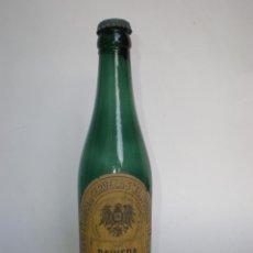 Coleccionismo de cervezas: BOTELLA CERVEZA BAVIERA BIER-EL AGUILA NEGRA, TERCIO, COLLOTO-OVIEDO, ETIQUETA, VIDRIO VERDE. Lote 96992355