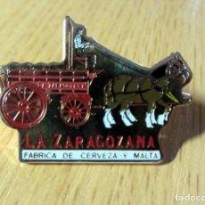 Coleccionismo de cervezas: PIN CERVEZA AMBAR LA ZARAGOZANA BEER SPAIN. Lote 96999331