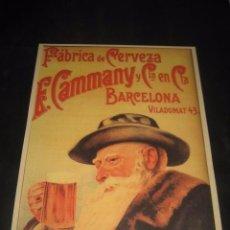 Coleccionismo de cervezas: CARTEL FABRICA DE CERVEZA E. CAMMANY Y CIA. BARCELONA. Lote 98024331