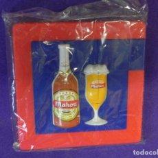 Coleccionismo de cervezas: CERVEZA MAHOU, JUEGO DE ROMPECABEZAS, NUEVO, MAHOU CINCO ESTRELLAS BOTELLA Y COPA DE CERVEZAS. Lote 98057759