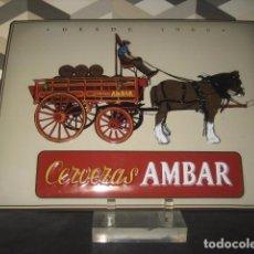 Coleccionismo de cervezas: CHAPA METAL PUBLICIDAD CERVEZA AMBAR. CERVEZAS LA ZARAGOZANA. Lote 98712079