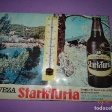 Coleccionismo de cervezas: ANTIGUO CARTEL CON TERMÓMETRO DE CERVEZAS EL TURIA Y STARK-TURIA - AÑO 1970S.. Lote 99691543
