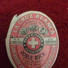 Coleccionismo de cervezas: ETIQUETA CERVEZA LA CRUZ BLANCA SANTANDER. Lote 100753335