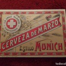 Coleccionismo de cervezas: ETIQUETA CERVEZA LA CRUZ BLANCA SANTANDER. Lote 163608357