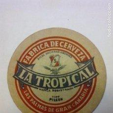 Coleccionismo de cervezas: POSAVASO CERVEZA ANTIGUO LA TROPICAL. Lote 128757086