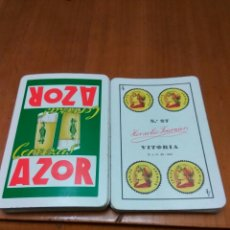 Coleccionismo de cervezas: CERVEZA AZOR BARAJA HERACLIO FOURNIER AŃO 1962. Lote 101181220