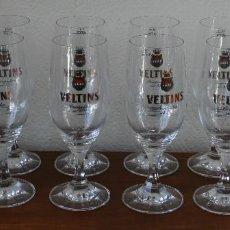 Coleccionismo de cervezas: 12 COPAS DE CERVEZA VELTINS DE CRISTAL TALLADO RITZENHOFF ALEMANIA – A ESTRENAR EN SU CAJA ORIGINAL. Lote 102299571