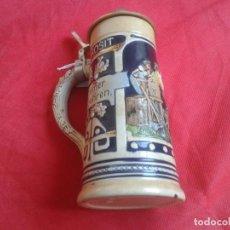 Coleccionismo de cervezas: JARRA DE CERVEZA -- CERÁMICA -- TAPA PLÁSTICO METALIZADO -- ALEMANIA -- 21 X 9 CM. Lote 104878367