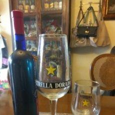 Coleccionismo de cervezas: CERVEZA DAMM ESTRELLA DORADA DOS VASOS COPA. Lote 104965074