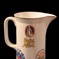 Coleccionismo de cervezas: ANTIGUA JARRA DE PORECELANA CON VARIAS MARCAS DE CERVEZA.. Lote 105125291