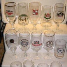 Coleccionismo de cervezas: LOTE 14 PIEZAS CRISTALERIA EXTRANJERA. Lote 176577645