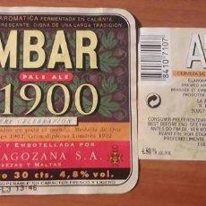 Coleccionismo de cervezas: ETIQUETAS DE CERVEZA AMBAR 1900. LA ZARAGOZANA. Lote 107636719