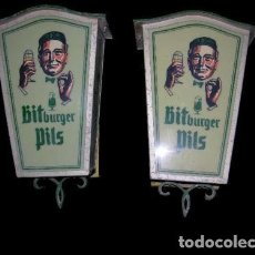 Coleccionismo de cervezas: FAROL LUMINOSO LAMPARA CERVEZA VINTAGE GRAN TAMAÑO BITBURGER PILS LAMP BAR // 2 LAMPARAS GRAN TAMAÑO. Lote 107680731