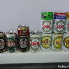Coleccionismo de cervezas: COLECCIÓN DE 10 LATAS ANTIGUAS DE CERVEZA SKOL EDICIÓN COCHE FIAT BASKET BALONCESTO. Lote 107727895