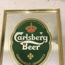 Coleccionismo de cervezas: CUADRO ENMARCADO. ESPEJO DE LA CERBEZA CARLSBERG. Lote 132972638