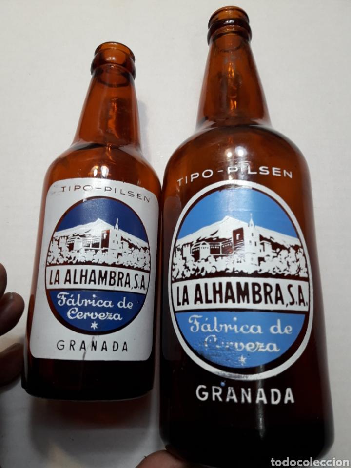 BOTELLAS DE CERVEZA ALHAMBRA 66CL Y 33CL SERIGRAFÍA EN BLANCO ESCASAS (Coleccionismo - Botellas y Bebidas - Cerveza )