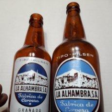 Coleccionismo de cervezas: BOTELLAS DE CERVEZA ALHAMBRA 66CL Y 33CL SERIGRAFÍA EN BLANCO ESCASAS. Lote 110922104