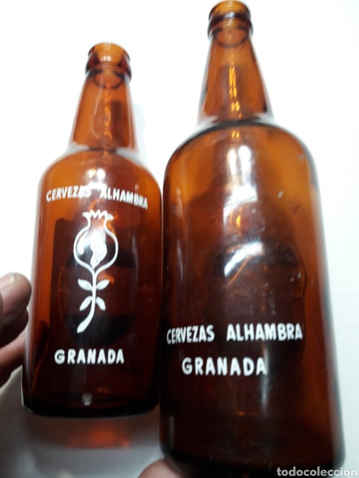 Coleccionismo de cervezas: Botellas de Cerveza Alhambra 66cl y 33cl serigrafía en blanco escasas - Foto 2 - 110922104