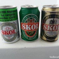Coleccionismo de cervezas: ANTIGUAS LATAS DE CERVEZA SKOL MERCADO ESPAÑOL. Lote 111237779
