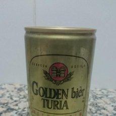 Coleccionismo de cervezas: ANTIGUA LATA CERVEZA GODEN BIER TURIA. Lote 111751459
