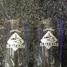 Coleccionismo de cervezas: DOS VASOS DE CERVERZA EL ALCAZAR DE JAEN. Lote 111872159