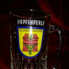 Coleccionismo de cervezas: JARRA DE CRISTAL CERVEZA HOPFENPERLE. Lote 111922379