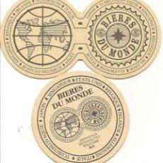 Coleccionismo de cervezas: POSAVASOS-COASTERS, CERVEZA BIERES DU MONDE, 2 DISTINTOS, CARTÓN RÍGIDO. Lote 112434095