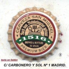 Coleccionismo de cervezas: CHAPA CERVEZA SAN MIGUEL 1516 MADRID XAPA KRONKORKEN TAPPI BOTTLE CAP CAPSULE. Lote 112465295