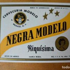 Coleccionismo de cervezas: ETIQUETA DE CERVEZ MODELO NEGRA. MEXICO. Lote 112991455