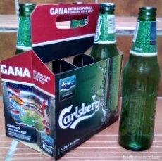 Coleccionismo de cervezas: CERVEZA CARLSBERG UEFA EURO 2012: 4 BOTELLAS VACIAS MAS CONTENEDOR CONMEMORATIVO + UNA CHAPA. Lote 113664115