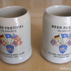 Coleccionismo de cervezas: PAREJA DE JARRAS DE CERVEZA ALEMANAS BEER FESTIVAL HQ AFNORTH ALLIED OFFICERS CLUB SEP. 87 OCT. 88. Lote 116859927