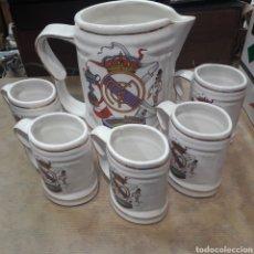 Coleccionismo de cervezas: JUEGO ANTIGUAS JARRAS REAL MADRID. Lote 119226048