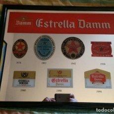 Coleccionismo de cervezas: CUADRO ESPEJO DAMM ETIQUETAS. Lote 229796700