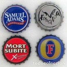 Coleccionismo de cervezas: LOTE DE CHAPAS CERVEZAS - FLYING DOG - FOSTER - SAMUELS ADAMS - MORT SUBITE - CHAPA DE CERVEZA. Lote 122176111